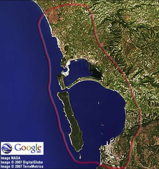 Pylos Area MAP (Google Earth - NASA Map)